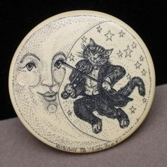 "Cat Fiddle Moon Pin Artisan Made & Signed ""Early Scat"" Vintage 