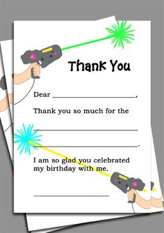 Instant Download  Laser Tag Thank You Note by ThatPartyChick, $8.00