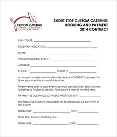Catering Contract CATERING CONTRACT Name Catering Businedd - Simple service agreement template word