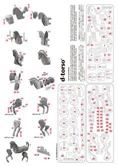 d-torso Horse131_redl | ディートルソ「馬段(うまだん)」ペーパークラフト by アキ工作社 |