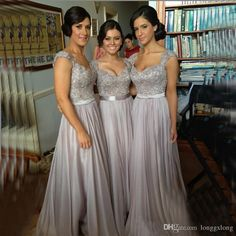 Silver Chiffon Lace Custom Made 2015 New Big Discount Cap Sleeves Long Bridesmaid Dresses Formal Dresses With Ribbon Sash Wedding Party Gown Lilac Bridesmaid Dresses Uk Magenta Bridesmaid Dresses From Longgxlong, $48.54| Dhgate.Com