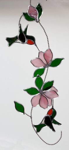 Stained Glass Hummingbird and Flowers: