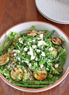 Grilled Zucchini and Green Bean Brown Rice Salad with Harissa-Honey ...
