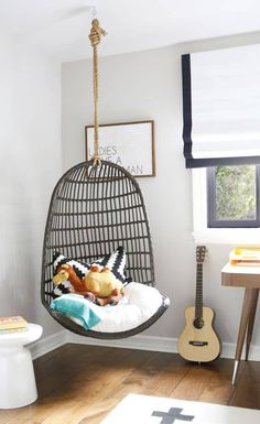 In the Big Kids Room with What's Up Moms' Brooke Mahan Project Nursery – Modern Eclectic Big Boy Room with Hanging Chair Bedroom Chair, Kids Bedroom, Bedroom Decor, Kids Rooms, Room Girls, Girls Fun, Basement Bedrooms, Bedroom Ideas, Big Boy Rooms