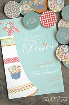 Super Girly Pocket Full of Posies Birthday Party - lots of vintage looking fabrics and flowers