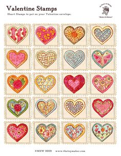 """Printable heart stamp images for the girls to put on their """"mail""""."""