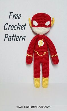 The Flash FREE crochet pattern, amigurumi, OneLittleHook Superhero Series