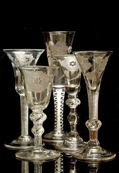 Jacobite drinking glasses ~ Hand blown and engraved glass ~18th Century. Cut Glass, Glass Art, Cristal Art, Glass Engraving, Antique Glassware, Engraved Glassware, Antique Bottles, Vintage Bottles, Vintage Wine