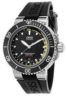 Oris Men's Aquis Depth Gauge Auto Black Rubber and DialOris 0173376754154-RUB-SD…