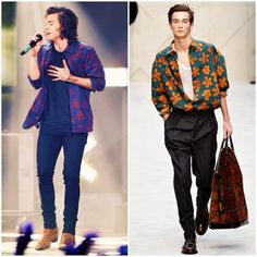 Harry Styles at 2014 iHeartRadio Music Festival http://www.whats-he-wearing.com/2014/09/harry-styles-wears-burberry-prorsum-fall-winter-2014-leaves-print-shirt-iheartradio-music-festival.html