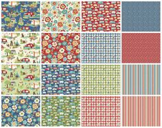 Road Trip Fabric by Riley Blake, Charm Pack Stacker, this cotton print is perfect for quilting, apparel and home decor accents. Colors include Each Road Trip charm pack includes 18 pieces of 5 x 5 fabric.  This fabric makes an adorable quilt. See my pattern sections for easy quilt pattern tutorials that you can make with Charm Packs. https://www.etsy.com/listing/124586499/pattern-charm-pack-easy-magic-9-block?ref=shop_home_active  Discounted International Shippin...