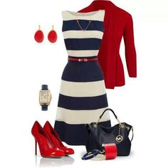 Blue and white stripes look great with red accents