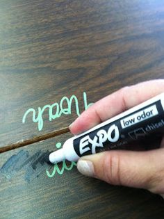 Timeouts and Tootsie Rolls: No More Name Plates. Sharpie paint pens stay on nicely all year but come off desks and laminated posters with an expo marker and a tissue!! Brilliant!