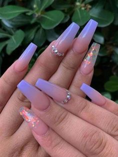 If you want cute ombre nails that suit summertime in 2019 then check our cherry-picked ombre acrylic nails between purple, blue, yellow, and pink ombre nails. Aycrlic Nails, Swag Nails, Glitter Nails, Stylish Nails, Trendy Nails, Jelly Nails, Fire Nails, Best Acrylic Nails, Acrylic Nails Coffin Ombre