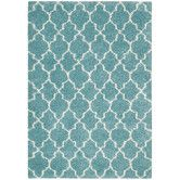Found it at Wayfair - Amore Aqua Rug - goes with the crazy aqua, orange, and yellow ikat fabric I picked for one of my armchairs.