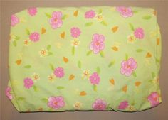 Pottery Barn Kids Green Pink Yellow Flower Fitted Crib Sheet Hearts 2005 Cotton #PotteryBarnKids