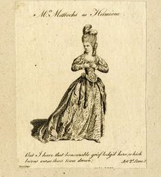 Portrait of the actress in character as Hermione in Shakespeare's play 'A Winter's Tale'; full-length standing to right, hands at her breast, looking away unhappily to left.  1779  Etching and engraving