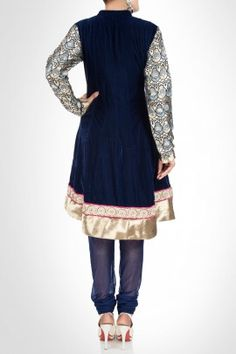 Navy blue velvet churidar kurta set