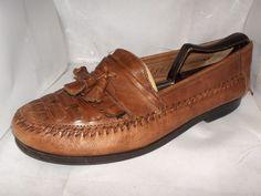 Giorgio Brutini Le Glove Cognac weave leather Men's shoe size 9.5M  #GiorgioBrutini #LoafersSlipOns