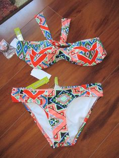 GB Gianni Bini NWT multi-colored two piece bathing suit size S #GIANNIBiNI #Bikini