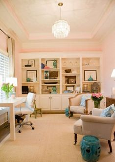 Victorian & earth office. turquoise, brown, and chartreuse with splashes of pink thrown in to counterbalance the pink.