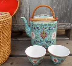 Antique China teapot and cups Rose Famille aqua red by ClassicCrow, $179.00