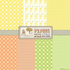 digital printables | Free Printable Citrus Splash Digital Scrapbook Papers