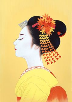 geisha illustration by Kumamoto, Japanese Illustration, Illustration Art, Amakusa, Art Chinois, Geisha Art, Art Asiatique, Japanese Painting, Japanese Prints