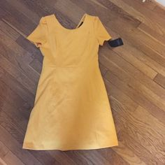 Zara trafaluc yellow dress nwt size small New with tags Zara trafaluc yellow fit and flare dress with back zip. Size small, runs a little small but provides some stretch. Great golden yellow color for fall. Zara Dresses