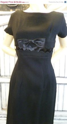 Vintage Sale Vintage 1950s Dress Bow front by LisAnneGallery, $49.00