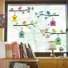 fashion vintage branch bird cage wall stickers removable living room decals Mural Parlor window Kids Bedroom Home Decor Classroom Window Decorations, Safari Decorations, School Decorations, Classroom Decor, Spring Crafts For Kids, Diy Crafts For Kids, Spring Decoration, Kids Room Wall Decals, Creative Arts And Crafts