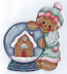 HP GINGERBREAD with Snowglobe FRIDGE MAGNET #Handpainted