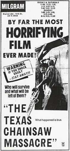 Horror Movie Newspaper Ads : The Texas Chainsaw Massacre 1964 Horror Icons, Horror Movie Posters, Horror Films, Horror Monsters, Scary Monsters, Movie Decor, Movie Props, Texas Chainsaw Massacre, Thing 1