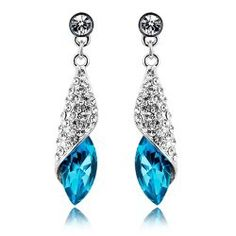 $16.99 USD  Miss Sea Crystal Stud Earrings  SKU:grhmf230002  size (in cm): length 4.0, width 1.0  Material: alloy + rhinestone + glass crystal  Weight: about 10g / each pair