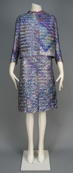 CHANEL HAUTE COUTURE SILK and CELLOPHANE COCKTAIL ENSEMBLE, 1960s