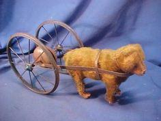 Early 20th C STEIFF German MOHAIR Teddy BEAR Bell PULL TOY