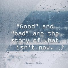 """Good"" and ""bad"" are the story of what isn't now.  —Byron Katie"