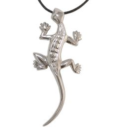 Silver Gecko Necklace Lizard Jewelry  Solid Sterling Silver