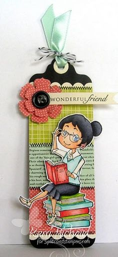 Cards by Kerri: -- Cute book mark! Using papers, fabrics, button, illustrations. make combinations and choose a style or a characteristic for a friend. Creative Bookmarks, Diy Bookmarks, Card Tags, Gift Tags, Craft Projects, Projects To Try, Diy And Crafts, Paper Crafts, Book Markers