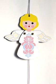 zazie.design / Hračka - Hopkáčik - Anjelik spievajúci... Tiered Cakes, Tweety, Character, Design, Lettering