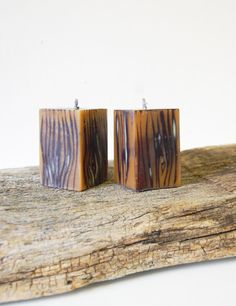 Two handmade candle cubes. Wood imitation candles. Christmas gift. Thanksgiving decor. Hygge home decor. Rustic home decor, rustic table decor. Hand painted with special technique to create wooden look. They are handmade to order, so will be a little bit different. Candle cube size