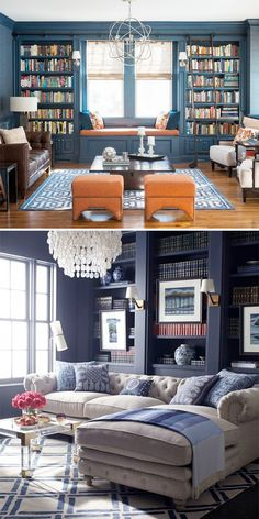 Future Home Interior Pawleys Island Posh: Navy Walls + Navy Built-ins + Progress in the Den Home Library Design, Room, Home Living Room, Blue Living Room, Home, Home Library Rooms, Blue Living Room Inspiration, House Interior, Home Office Design