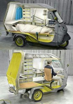 The fully furnished camper contains a fold-up bed, a sink, a kitchen with refrigerator and running water and, of course, a place to hook up your laptop. German industrial designer Cornelius Cormanns modified a three wheeled Piaggio scooter to create the Buffalino, which is set to meet the requirements of a single individual. Read more: http://www.dailymail.co.uk/sciencetech/article-2275158/Happy-camper-Tuk-tucked-bed-The-man-camper-van-perfect-lonely-traveller.html#ixzz3AUzeFNtl Follow us: