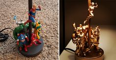Make a Lamp Using your Old Action Figures - Diy World Figurines D'action, Anime Figurines, Diy Toys Lamp, Marvel Lamp, Superhero Lamp, Superhero Alphabet, Cool Diy Projects, Craft Projects, Fairy Lanterns