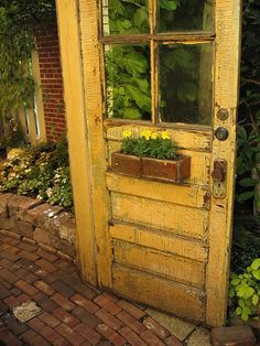Yellow Door Old chippy salvaged door.with a wooden flower box.love the color! Yellow Door Old chippy salvaged door.with a wooden flower box.love the color! Garden Doors, Garden Gates, Old Windows, Windows And Doors, Wooden Flower Boxes, Yellow Doors, Old Doors, Salvaged Doors, Mellow Yellow