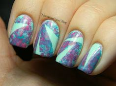 Neverland Nail Blog: Plastic Wrap Sponging and Tape Mani!