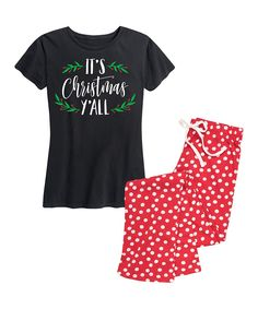 Take a look at this Black & Red 'Christmas Y'all' Pajama Set - Women today!