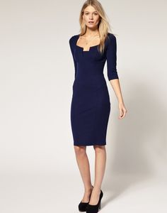 Womens Concise Elegant square Neck Bodycon fold Slim Fit Pencil Dress Features: Intro: Bodycon slim, sexy open chest, half sleeves, suit for party or daily wear. Color:  Blue  Navy blue   Red Material: cotton + polyester SIZE: US SIZE 4-12 www. apuremall.com