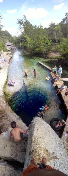 "Jacob's Well, Wimberley, Texas. Jacob's Well is one of the longest underwater caves in Texas. It's basically a spring-fed pool that is made by the thousands of gallons of water per minute that surge up into the well. The well acts as headwaters to Cypress Creek, which flows through Wimberley and feeds both the Blue Hole and the Blanco River. 30°02'04.0""N 98°07'34.0""W"