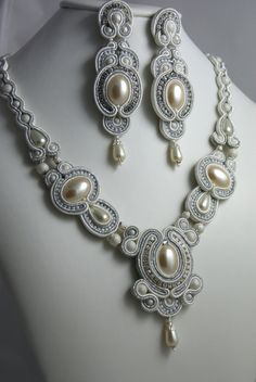 Bridal Soutache Earrings  Necklace, BeadsRainbow; Hamburg, Germany